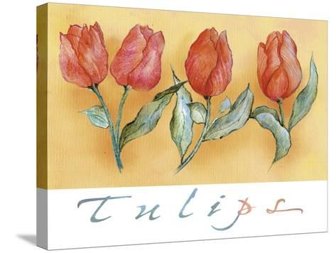 A Watercolor of Four Red Tulips-Maria Trad-Stretched Canvas Print