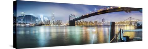 Brooklyn Bridge Pano 2-Color-Moises Levy-Stretched Canvas Print