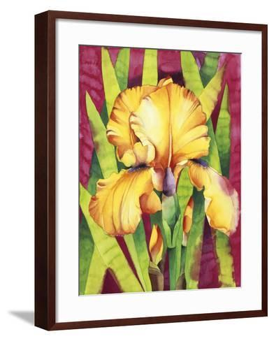 Yellow Iris with Maroon Back-Mary Russel-Framed Art Print