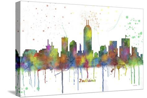 Indianapolis Indiana Skyline MCLR 1-Marlene Watson-Stretched Canvas Print