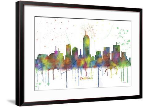 Indianapolis Indiana Skyline MCLR 1-Marlene Watson-Framed Art Print