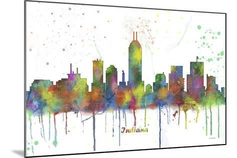 Indianapolis Indiana Skyline MCLR 1-Marlene Watson-Mounted Giclee Print