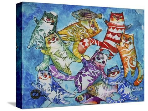 Cats and Fish-Oxana Zaika-Stretched Canvas Print
