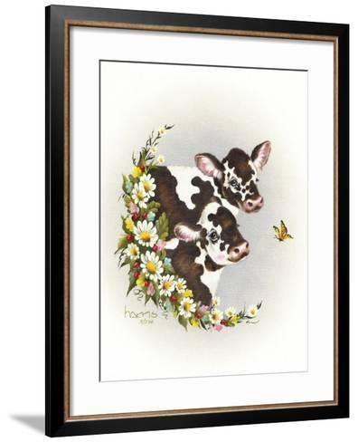 Brown Cows-Peggy Harris-Framed Art Print
