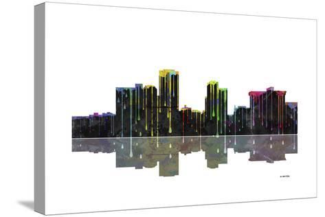 Little Rock Arkansas Skyline BW 1-Marlene Watson-Stretched Canvas Print