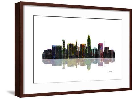 Lincoln Nebraska Skyline BW 1-Marlene Watson-Framed Art Print
