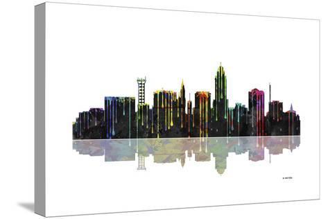 Lincoln Nebraska Skyline BW 1-Marlene Watson-Stretched Canvas Print