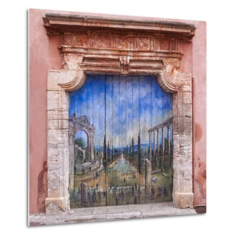 Old Painted Door-Michael Blanchette-Metal Print