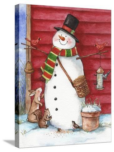 Red Barn Snowman with Friends-Melinda Hipsher-Stretched Canvas Print