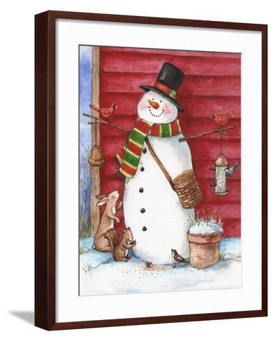 Red Barn Snowman with Friends-Melinda Hipsher-Framed Art Print