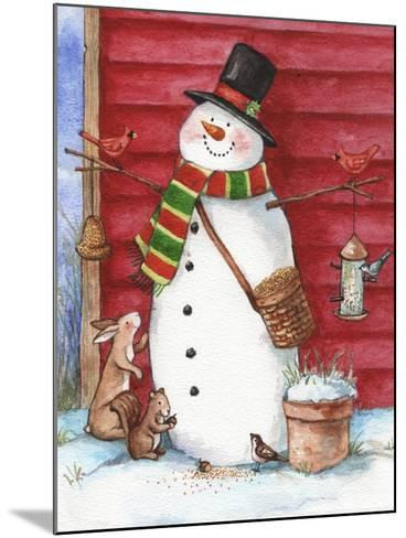 Red Barn Snowman with Friends-Melinda Hipsher-Mounted Giclee Print
