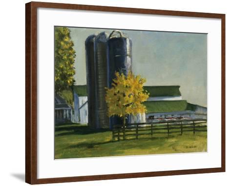 Silos by a Farm-Michael Budden-Framed Art Print