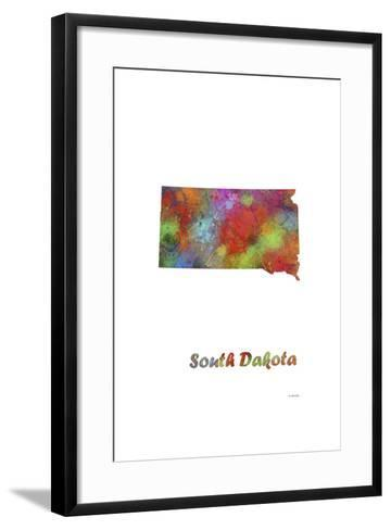 South Dakota State Map 1-Marlene Watson-Framed Art Print