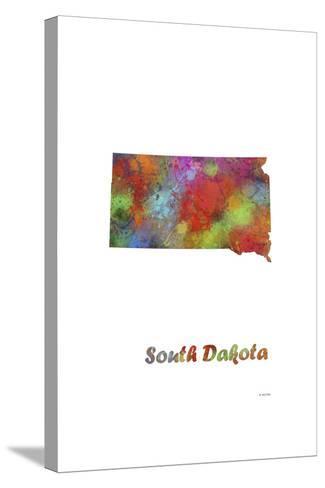 South Dakota State Map 1-Marlene Watson-Stretched Canvas Print