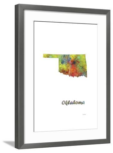 Oklahoma State Map 1-Marlene Watson-Framed Art Print