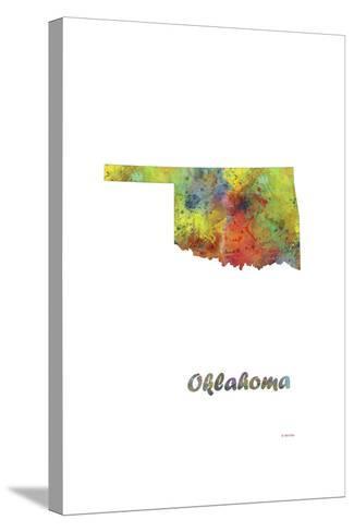 Oklahoma State Map 1-Marlene Watson-Stretched Canvas Print
