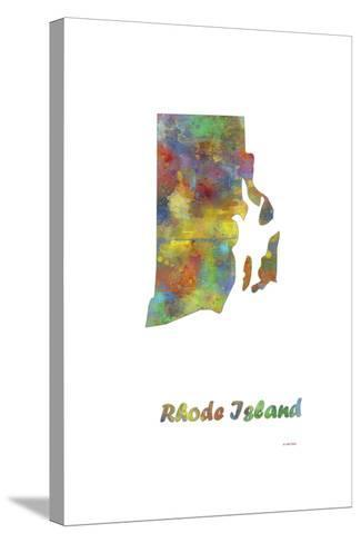 Rhode Island State Map 1-Marlene Watson-Stretched Canvas Print