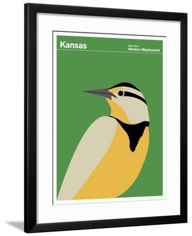State Poster KS Kansas--Framed Art Print