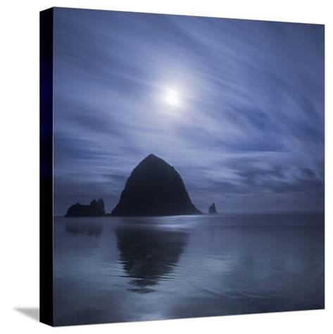 Moon over Canon Beach-Moises Levy-Stretched Canvas Print