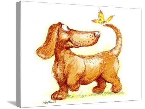 Dachshund and Butterfly-Nate Owens-Stretched Canvas Print