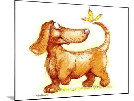 Dachshund and Butterfly-Nate Owens-Mounted Giclee Print
