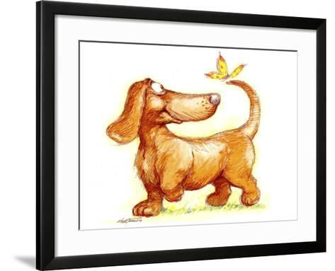 Dachshund and Butterfly-Nate Owens-Framed Art Print