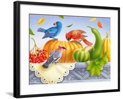 Birds and Pumpkins-Olga Kovaleva-Framed Art Print