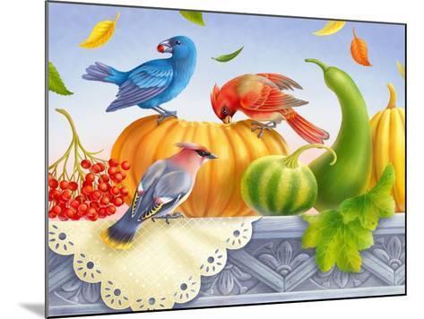 Birds and Pumpkins-Olga Kovaleva-Mounted Giclee Print