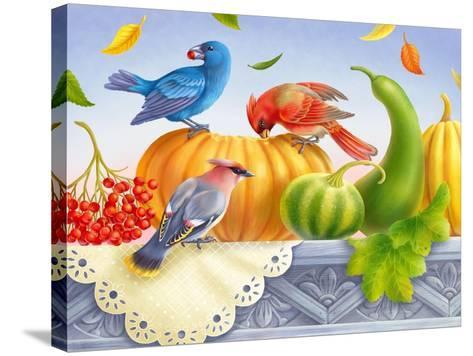 Birds and Pumpkins-Olga Kovaleva-Stretched Canvas Print