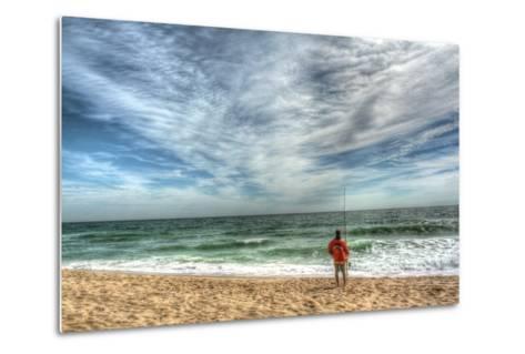 Solitary Surf Fisherman-Robert Goldwitz-Metal Print