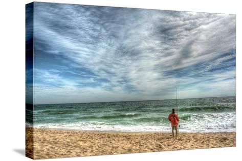 Solitary Surf Fisherman-Robert Goldwitz-Stretched Canvas Print
