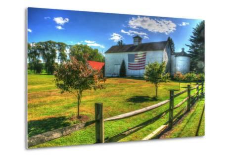 White Barn and Flag-Robert Goldwitz-Metal Print