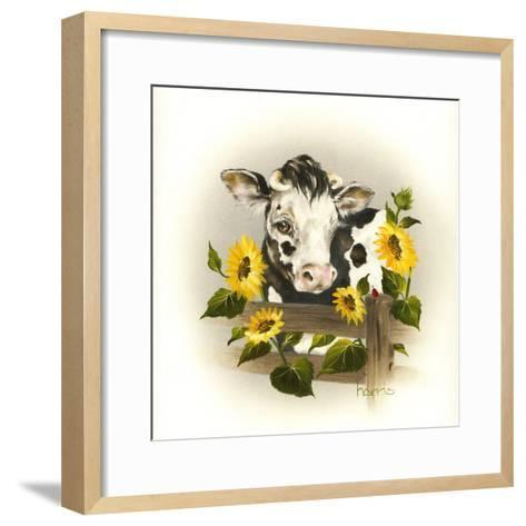 Cow and Sunflowers-Peggy Harris-Framed Art Print