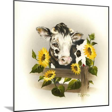 Cow and Sunflowers-Peggy Harris-Mounted Giclee Print