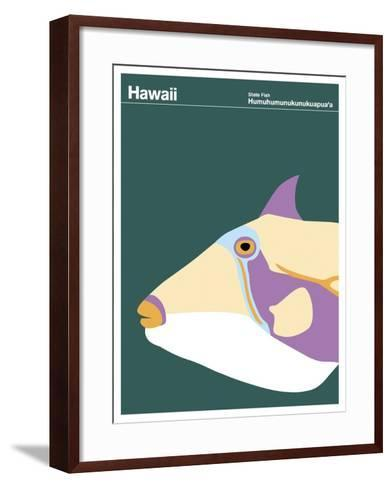 State Poster HI Hawaii--Framed Art Print