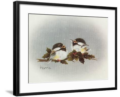 Chickadees and Holly-Peggy Harris-Framed Art Print
