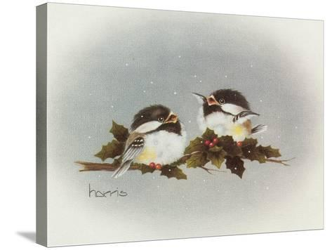 Chickadees and Holly-Peggy Harris-Stretched Canvas Print