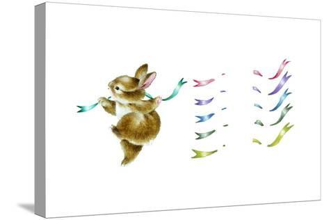 Spring Fling - Dancing Bunny-Peggy Harris-Stretched Canvas Print
