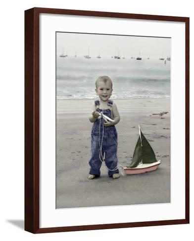 Little Kid on Beach with Toy Sailboat-Nora Hernandez-Framed Art Print