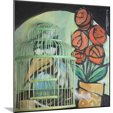 Bird in Cage with Potted Plant-Tim Nyberg-Mounted Giclee Print