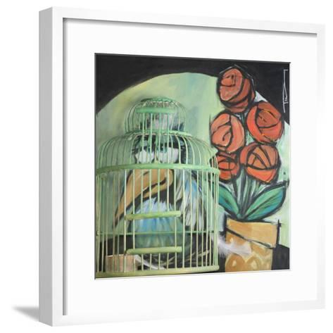 Bird in Cage with Potted Plant-Tim Nyberg-Framed Art Print