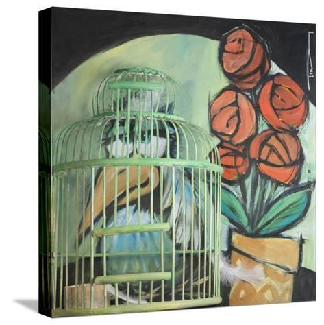 Bird in Cage with Potted Plant-Tim Nyberg-Stretched Canvas Print