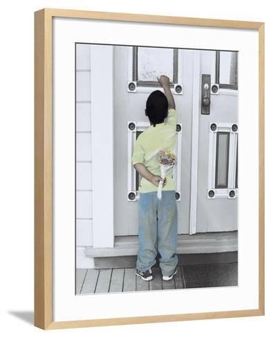 Boy Holding a Bouquet of Flowers Behind His Back While Knocking on the Door-Nora Hernandez-Framed Art Print