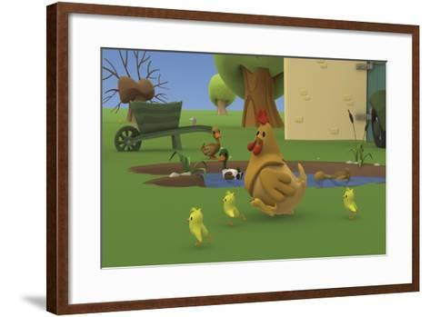 Party on the Farm 3- Musti-Framed Art Print