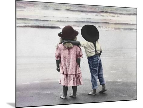 Boy and Girl on Beach-Nora Hernandez-Mounted Giclee Print