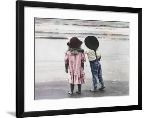 Boy and Girl on Beach-Nora Hernandez-Framed Art Print