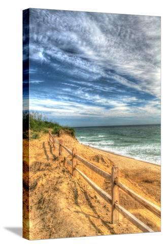 Truro Beach Fence Vertical-Robert Goldwitz-Stretched Canvas Print