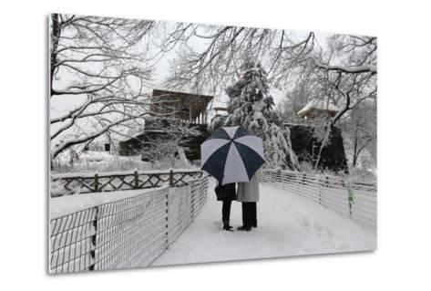 Central Park Couple in the Snow-Robert Goldwitz-Metal Print