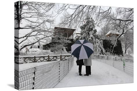 Central Park Couple in the Snow-Robert Goldwitz-Stretched Canvas Print