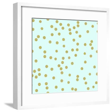 Pale Aqua Golden Round Confetti-Tina Lavoie-Framed Art Print